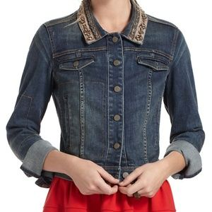 Anthropologie/Holding Horses beaded jean jacket